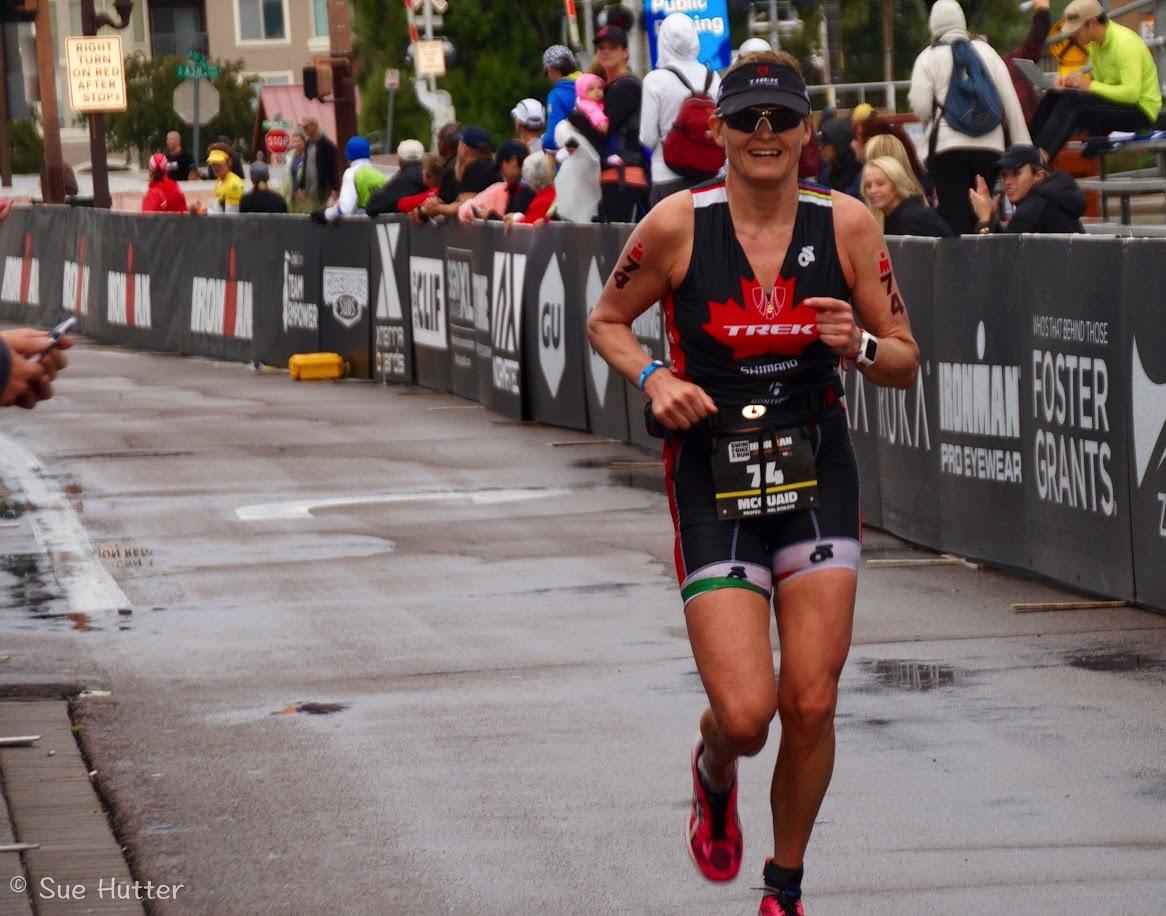 triathlete melanie mcquaid running in Asics DS Trainer shoes for the marathon Ironman Arizona